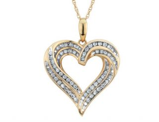 Diamond Heart Pendant Necklace 1/2 Carat (ctw) in 10K Yellow Gold with