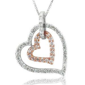 14k White Pink Gold 2 Heart Diamond Pendant Necklace