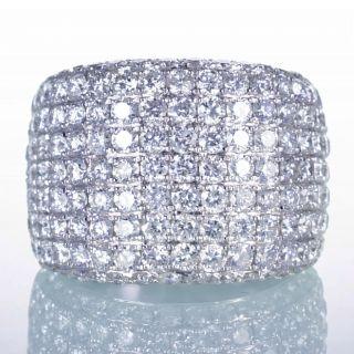 Gold 16mm Dome Diamond Pave Anniversary Band Ring Wedding 6 75
