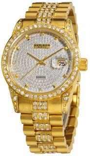 Akribos XXIV AK486YG Diamond Quartz Gold Tone Mens Watch