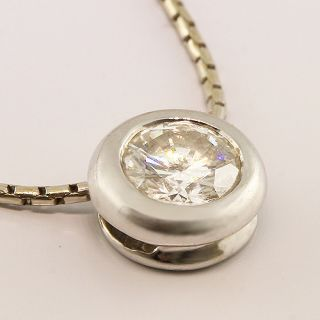 Spectacular 1/2ct Diamond Solitaire 14K White Gold Pendant Necklace