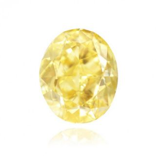 Carat Fancy Intense Yellow Color Oval Natural Loose Diamonds
