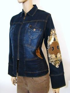 NEW Diane Gilman DG2 Dark Denim Fleur De Lis Embroidery Jean Jacket S