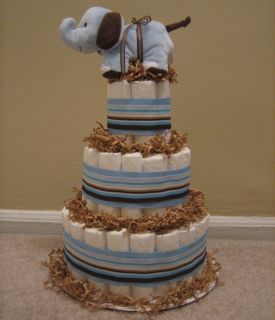 Boy Elephant Diaper Cake for Baby Shower Centerpiece Baby Gift