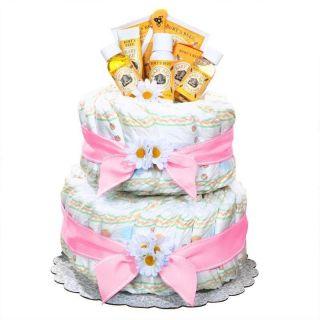 Burt Bees Baby Girl Newborn Diaper Cake Pink Gift Basket Lotion Talc