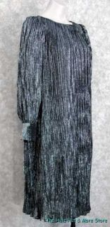 80s Vintage Black Silver Grecian Delphos Style Party Dress FORTUNY