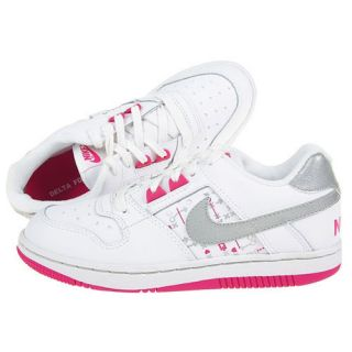 Nike Delta Force Low Girls White Leather Athletic Shoe