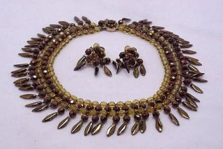DEMARIO LIGHT GOLDEN YELLOW & COPPER COLORED BEADED NECKLACE