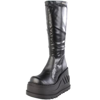 Demonia Black Stretch PU 4 75 Platform Calf Boot Goth Punk Stomp 300