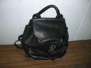 GENUINE BLACK LEATHER DELVAUX BRUXELLES BACKPACK MODELE DEPOSE