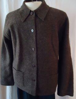 Deane White 100 Wool Jacket Blazer Unlined Boiled Wool DarkBrown Size