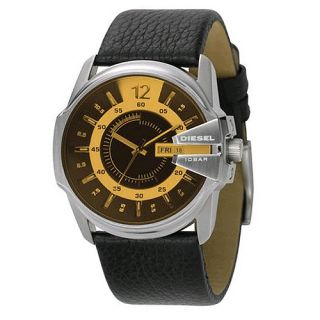 Diesel Casual Black Yellow Leather Mens Watches DZ1207