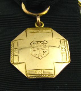 DeMolay   Vintage Black Ribbon Watch Fob Medal Shield Masons Masonic