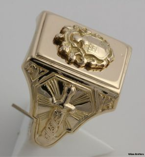 Vintage Demolay Masonic Ring   10k Yellow Gold Solid Back Band 12.8g