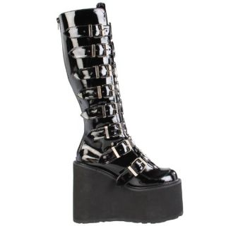 Demonia Black 5 5 Metal Plate Platform Knee High Boot Goth Punks