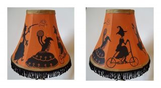 Halloween Lamp OOAK Witches Black Cats Ghosts Witch by Demy HP