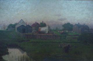 Antique 19th Century Original William Bright Morris Landscape Oil