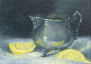 Sepos Daily Painting a Day Still Life vintage & footed Silver Creamer