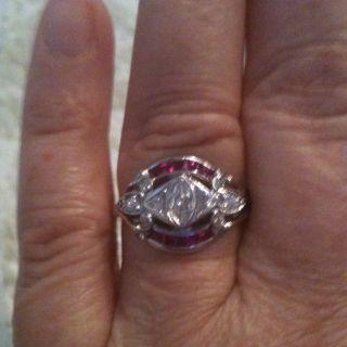 Vintage Deco Diamond Ruby Ring White Gold