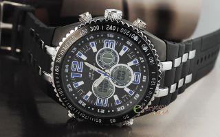 Elegant Blue Digital Sports Steel Watch Mens Boy Date ALM Waterproof