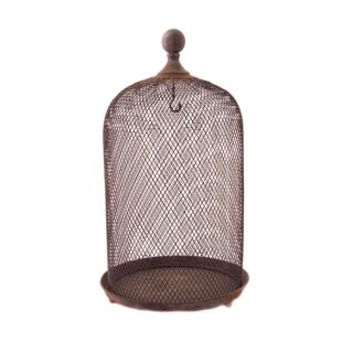Bird Cage Decorative Aviary   Brown Antique Wash Wire Cloche   Large