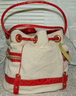 New Brahmin Dee Dee Windjammer Drawstring Red Croc Bag Handbag Purse