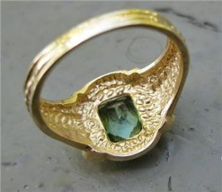 RING, Gold 14k, kt, GREEN TOURMALINE, gem, size 6