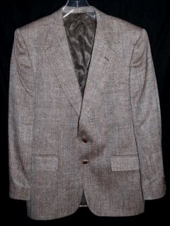 Dimitri Brown White Pure Silk Herringbone Mens Blazer Sports Coat Sz