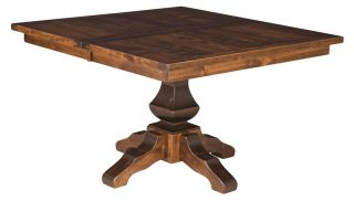 amish rustic square dining table pedestal leaf solid wood furniture 54