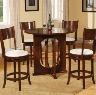 New 5 Piece Dining Room Furniture Set Counter Height Table 4 Swivel