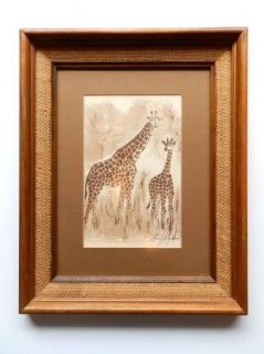 Mary Dinkins Texas Artist Original Signed Framed Print Giraffes