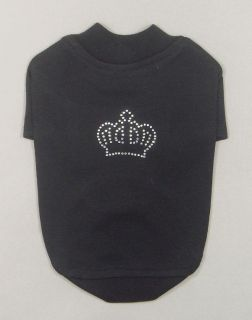 Designer Dog Clothes with Crown Rhinestones Small Dog T Shirts Cotton