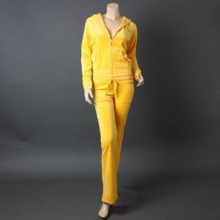 Designer Yellow Velour Long Sleeve Woman Tracksuit Pocket Jacket Pant