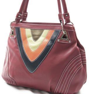 New Red Designer Handbag Bag Purse Tote 2 Way Satchel