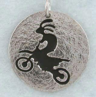 Kokopelli Jumping Dirt Bike Motocross Hand Crafted Sterling Silver