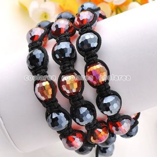 1x Hematite White Crystal Glass Disco Ball Beads Woven Bracelet 10
