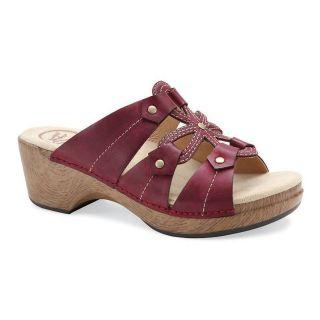 Dansko Womens Serena Leather Clog Sandals Sangria Waxy