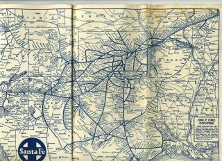 Colorado and Santa Fe Ry. Time Tables 1939 Indian Detours Grand Canyon