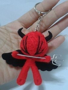 Red Devil Size 3 String Voodoo Doll Collectibles Key Chains Handmade