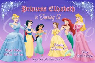 Disney Princess Custom Photo Birthday Party Invitation Many Designs