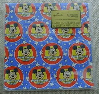 VINTAGE Disney MICKEY MOUSE CLUB, Hallmark Gift Wrap, Wrapping paper