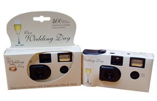 Our Wedding Day White Disposable Camera Favor