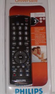 Philips Universal 3 Device Remote Control Black New TV CBL DVD