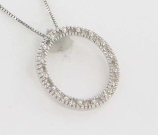 10 14K White Gold Pave Diamond Circle Pendant Necklace Fine Jewelry