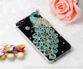 3D Peacock Diamond Crystal Rhinestone Bling Case for Apple iPhone 4 4S