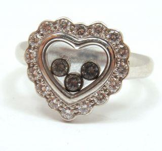 Chopard 18K White Gold Happy Diamond 19 Diamond Heart Ring