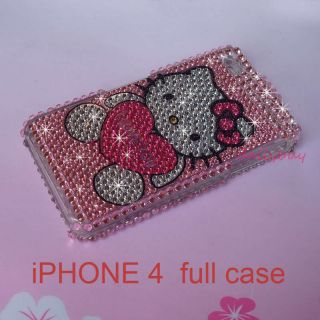 Hello Kitty Bling Diamond Crystal Hardy Case Cover Skin For iPhone 4G