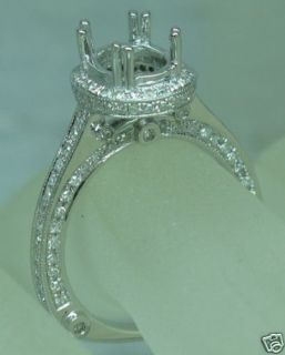 OVAL 9 7mm SOLID 14k WHITE GOLD DIAMOND SEMI MOUNT SETTING RING