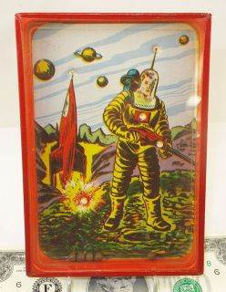 ROBOT LOOKING SPACEMAN & ROCKET DEXTERITY PUZZLE VINTAGE TIN TOY GAME