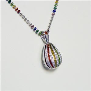 18K White Gold Enamel Diamond Hidalgo Teardrop Pendant Necklace